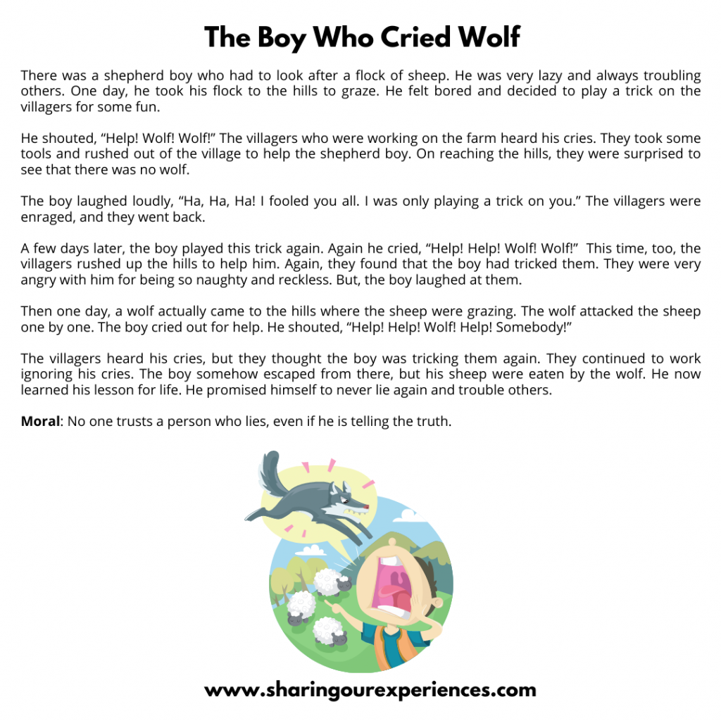 Famous Moral Stories For Kids- The Boy Who Cried Wolf.