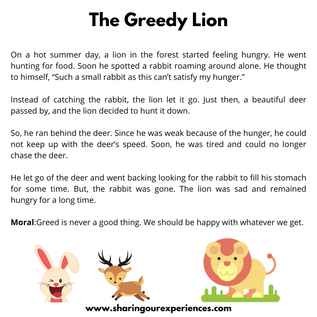Famous Stories For Kids-The Greedy Lion.
