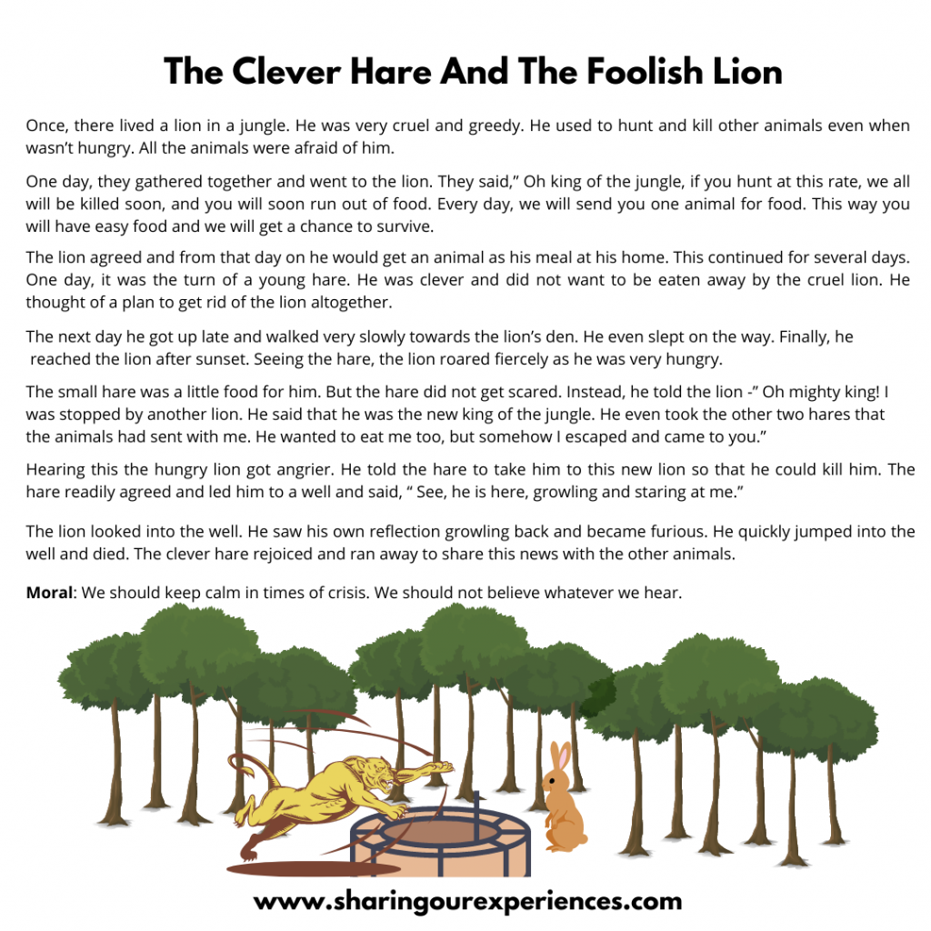 Popular Bedtime Stories For Kids- The Clever Hare And The Foolish Lion.