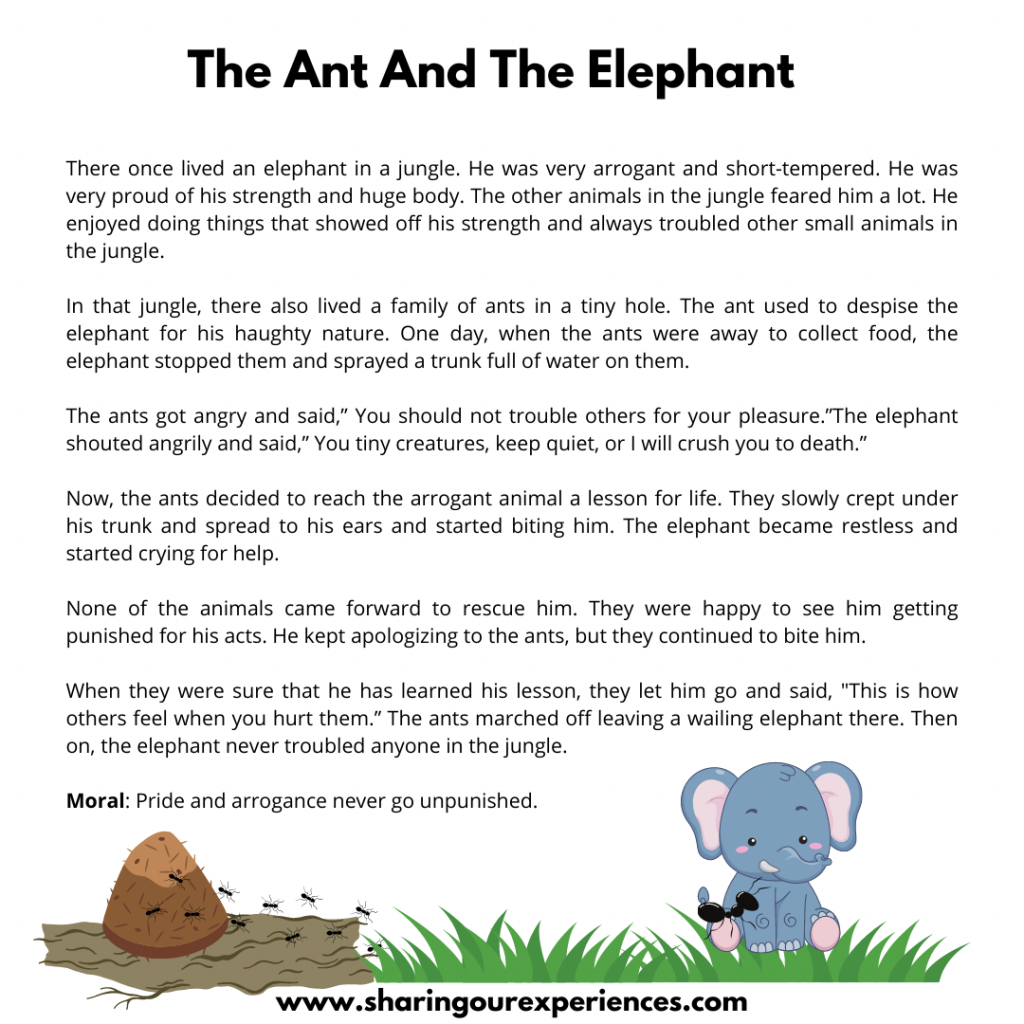 Most Popular Moral Storires For Kids- The Ant And The Elephant.