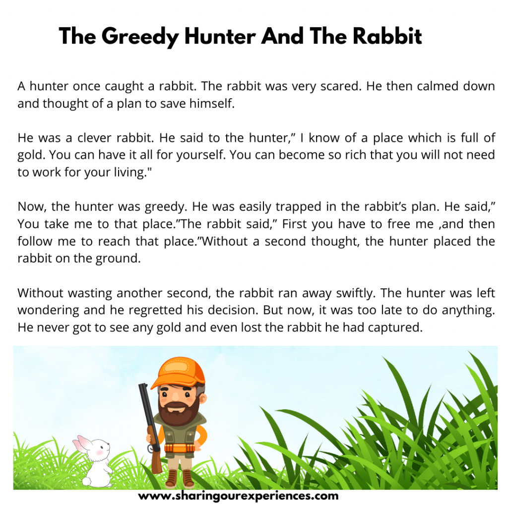 Most Popular Moral Stories For Kids- The Greedy Hunter And The Rabbit.