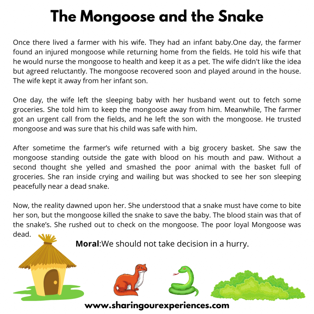 Most Popular Moral Stories For Kids- The Mongoose And The Snake.