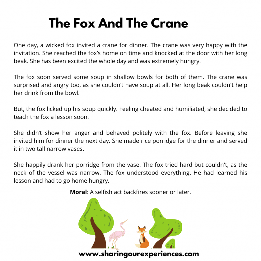 Most Famous Moral Stories For Kids- The Fox And The Crane.