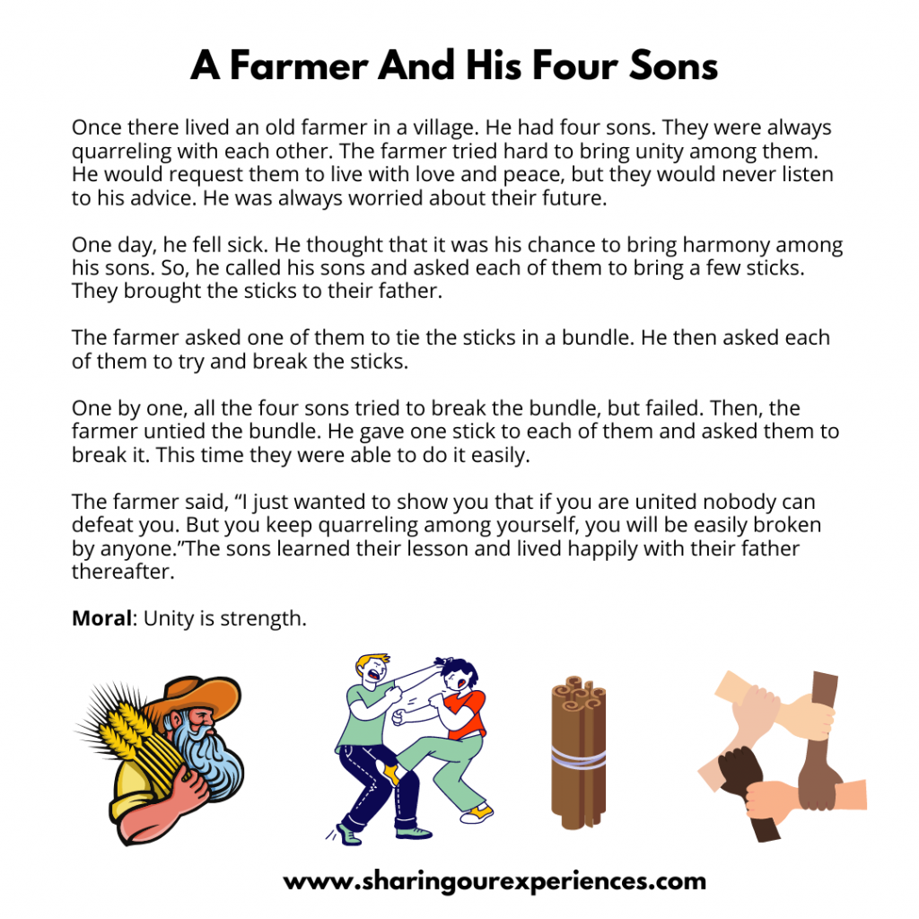 Popular Moral Stories For The Kids- A Farmer And His Four Sons.