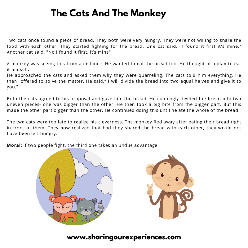 Popular Moral Stories For The Kids- The Cat And The Monkey.