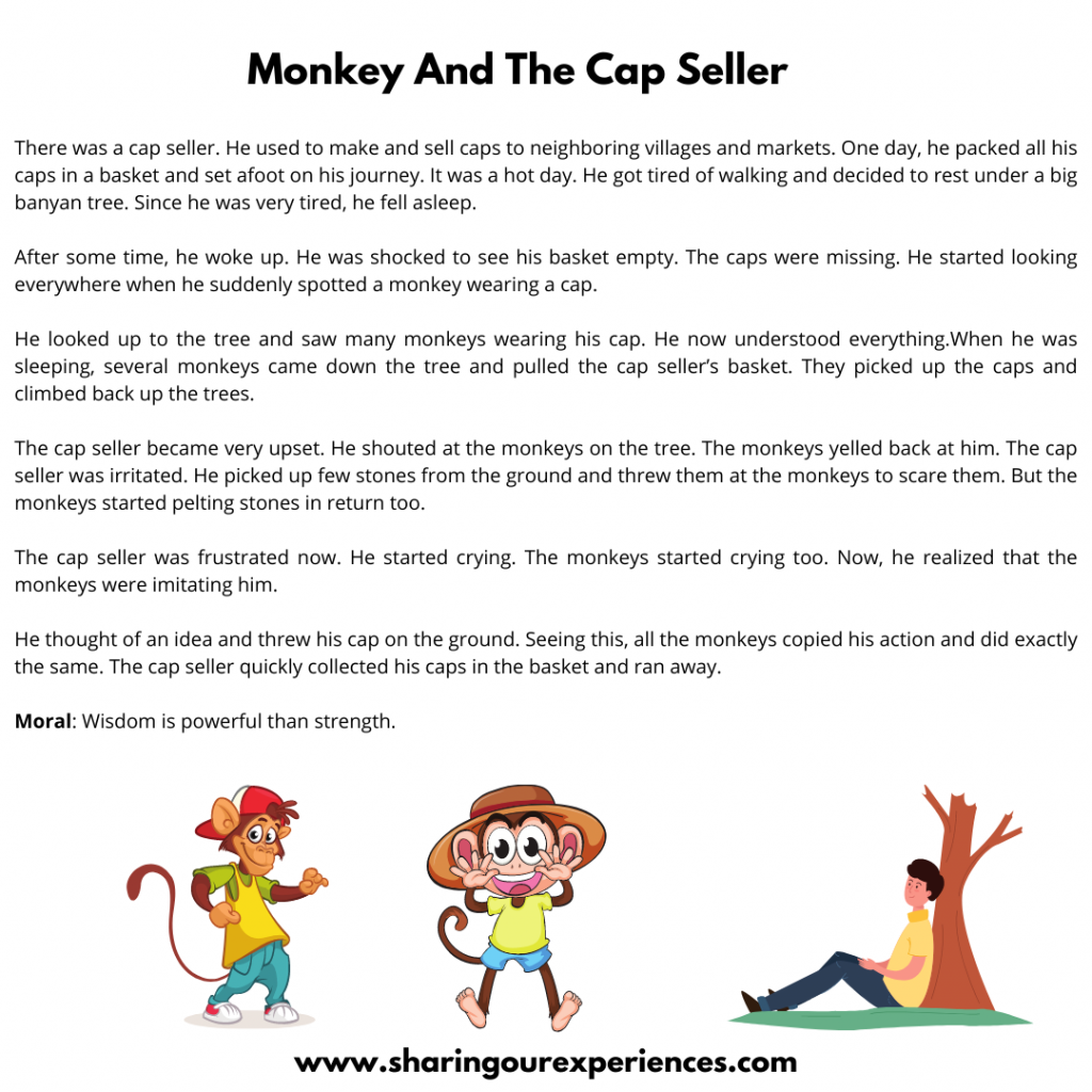 Popular Moral Stories In English For Kids- Monkey And The Cap