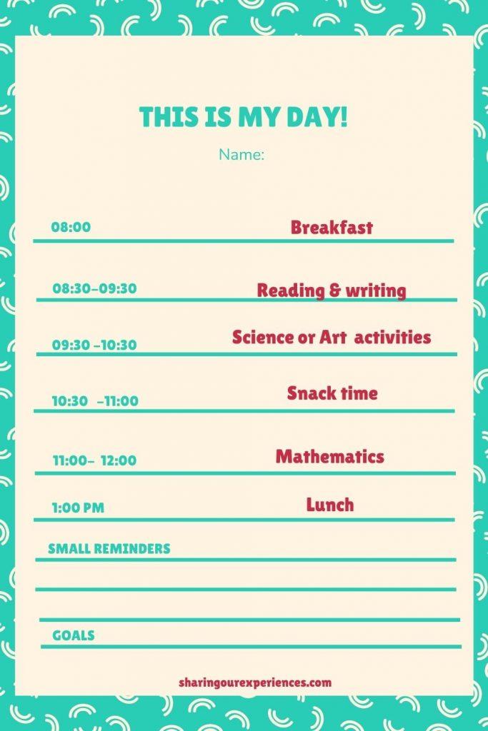 kindergarten schedule homeschool timetable