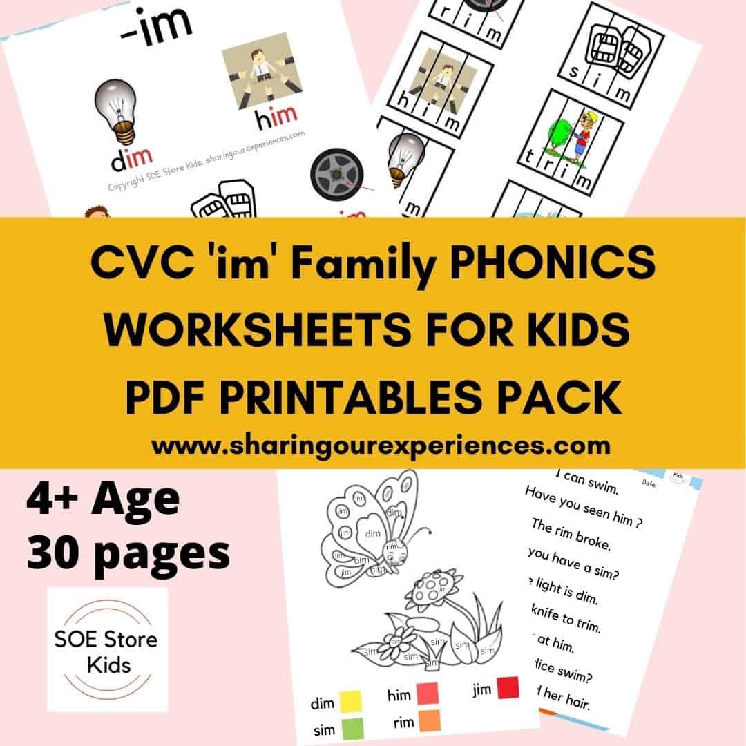 CVC 'im' word family printable Phonics worksheets for kindergarten