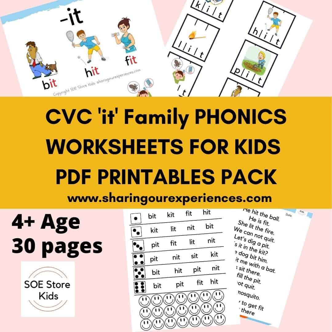 CVC 'it' word family printable Phonics worksheets for kindergarten