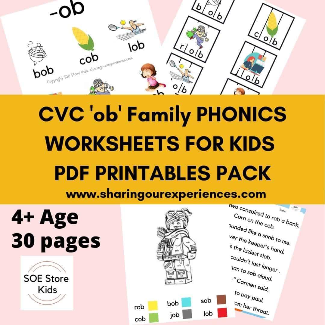 CVC 'ob' word family printable Phonics worksheets for kids