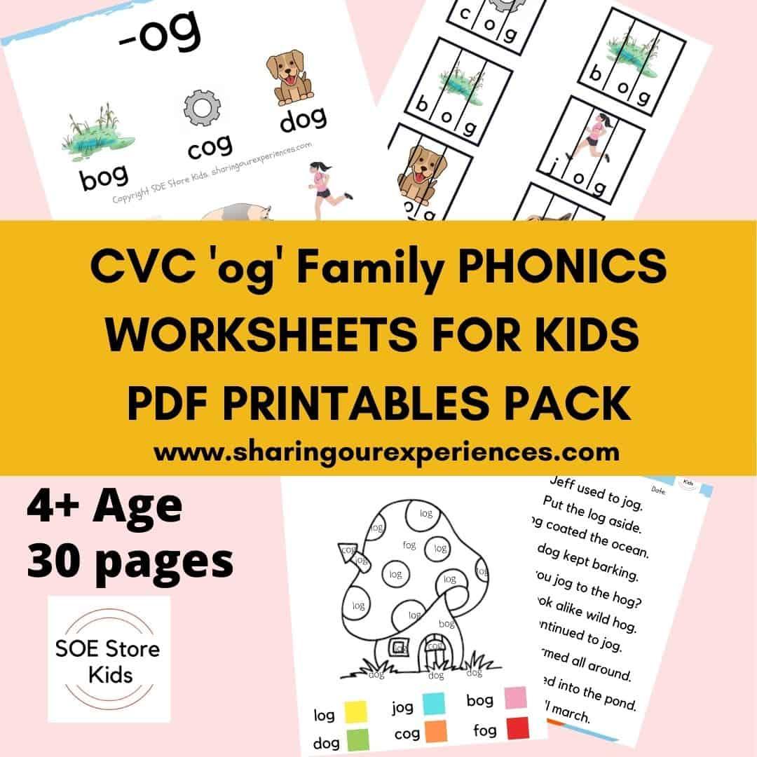 CVC og word family printable Phonics worksheets for kids