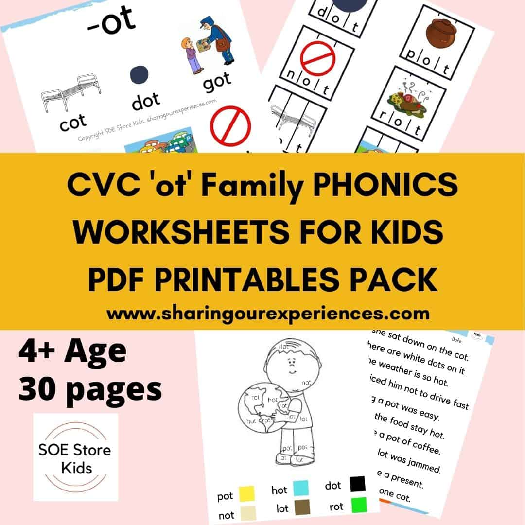 CVC 'ot' word family printable Phonics worksheets for kindergarten