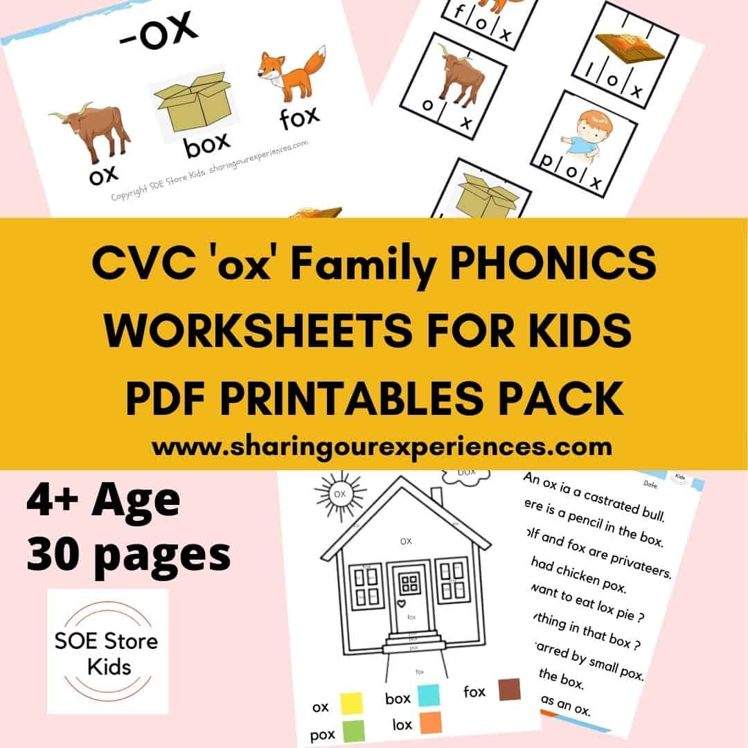 CVC 'ox' word family printable Phonics worksheets for kids
