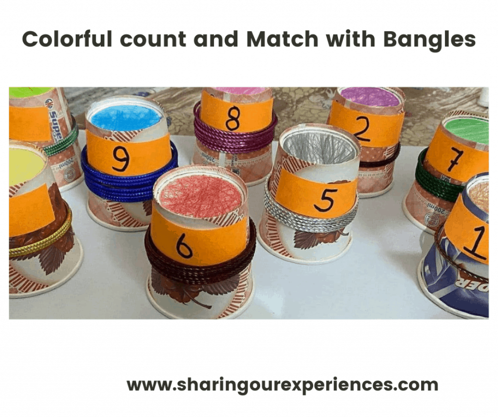 vibrant number activity with bangles for toddler to teach number counting and subitizing.  perfect activity to keep preschooler engaged in a productive way.