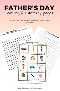 Father's Day Writing and Literacy Activites for Kindergarten