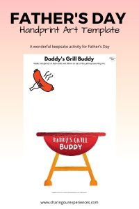 Father's Day handprint craft activity with Template