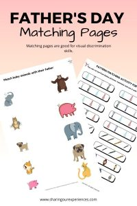 Father's Day matching activities for preschoolers