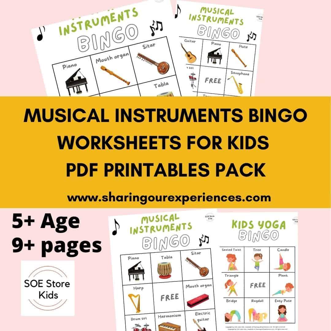 Musical Instruments Bingo Printable 3x3 for Kindergarten kids