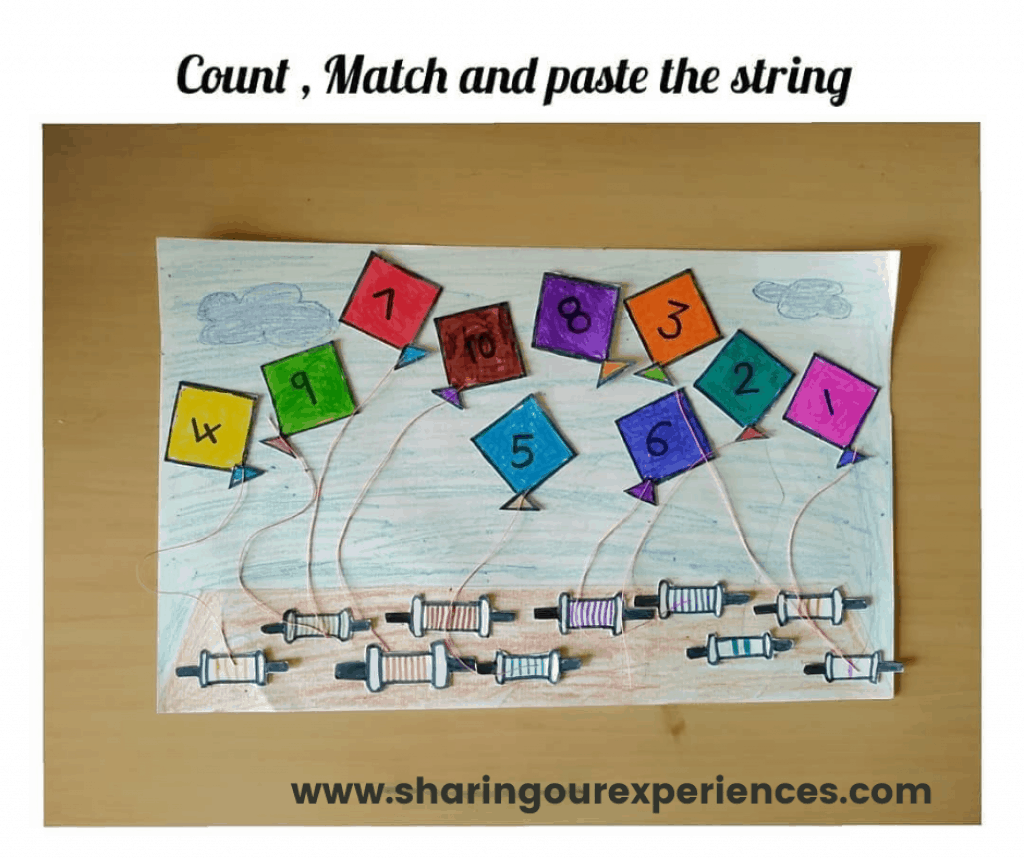 number counting activity with kites to make learning fun and interesting. for toddlers, preschoolers and kindergarten. Ideal craft activity for math and easy to do for kids.