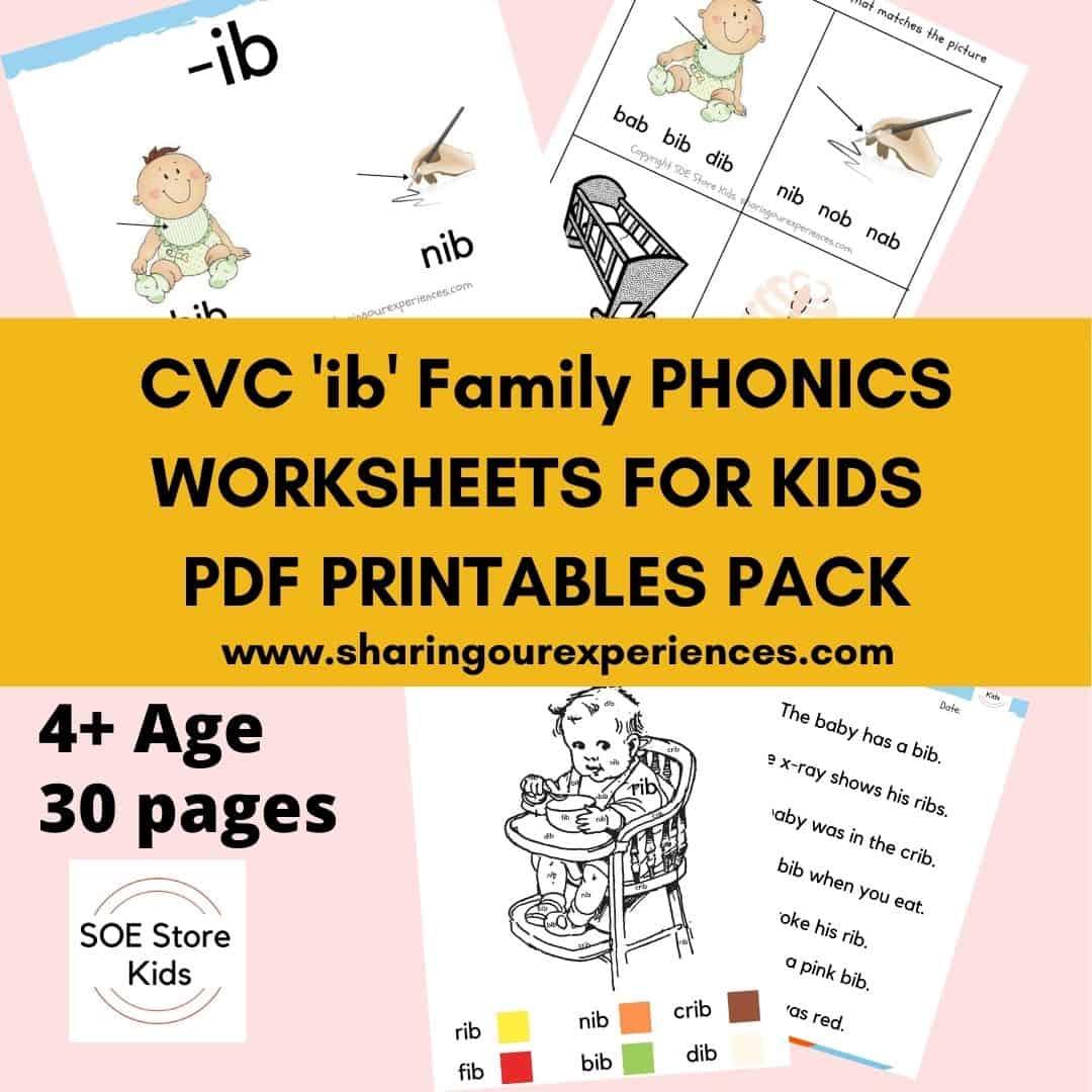 ib Word family printables for kindergarten