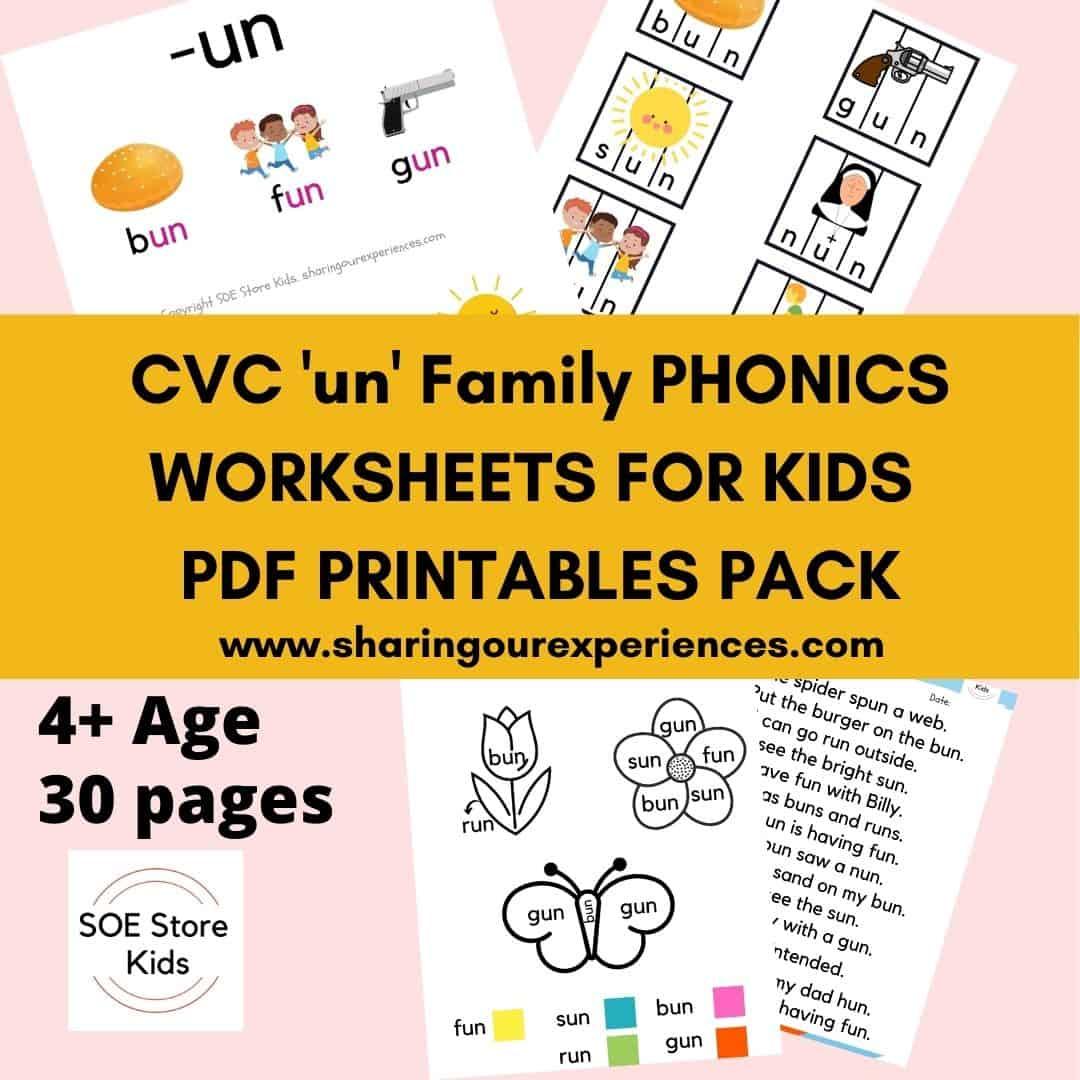 CVC un word family printable Phonics worksheets for kids