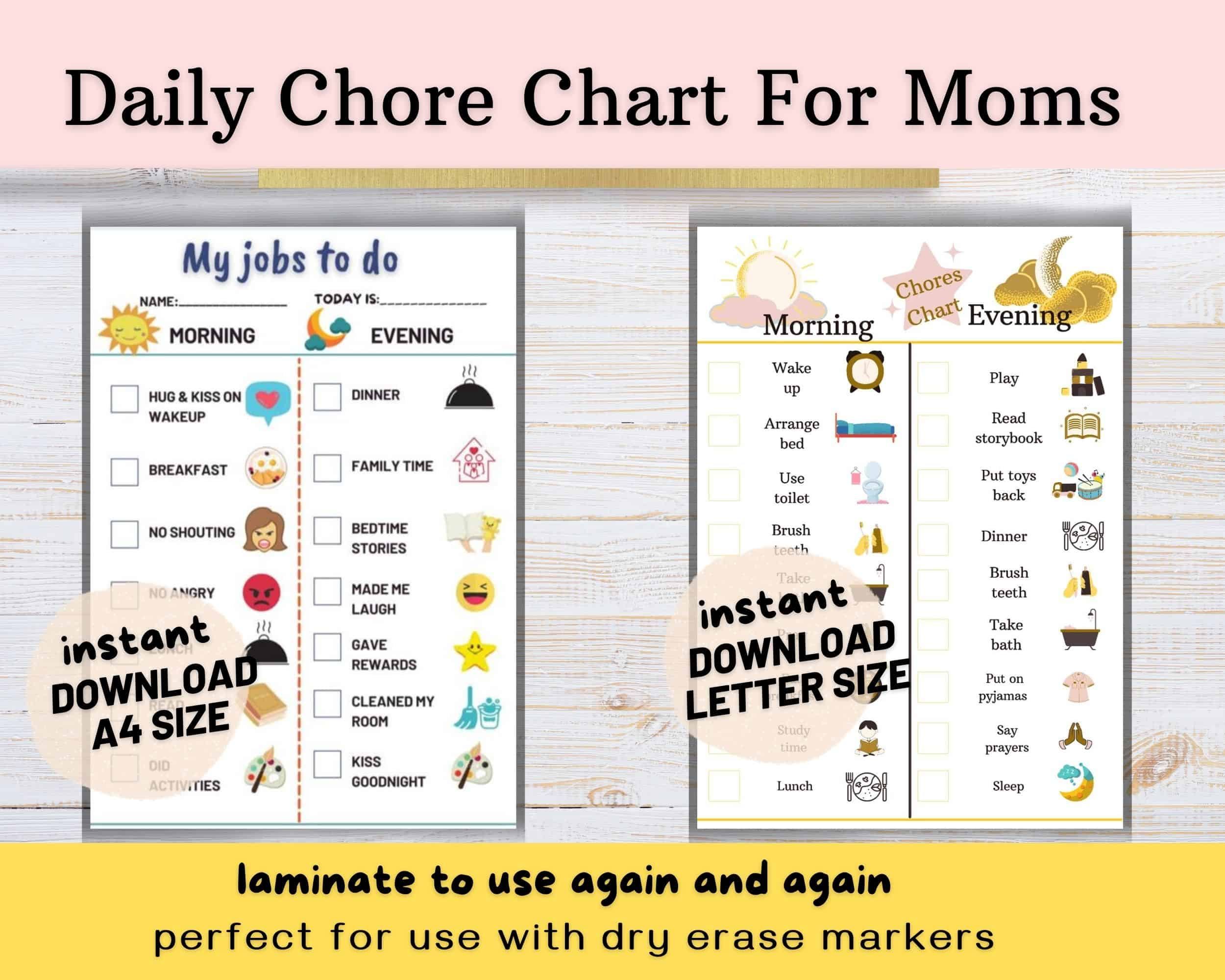 Daily Chore Chart for Moms Printable