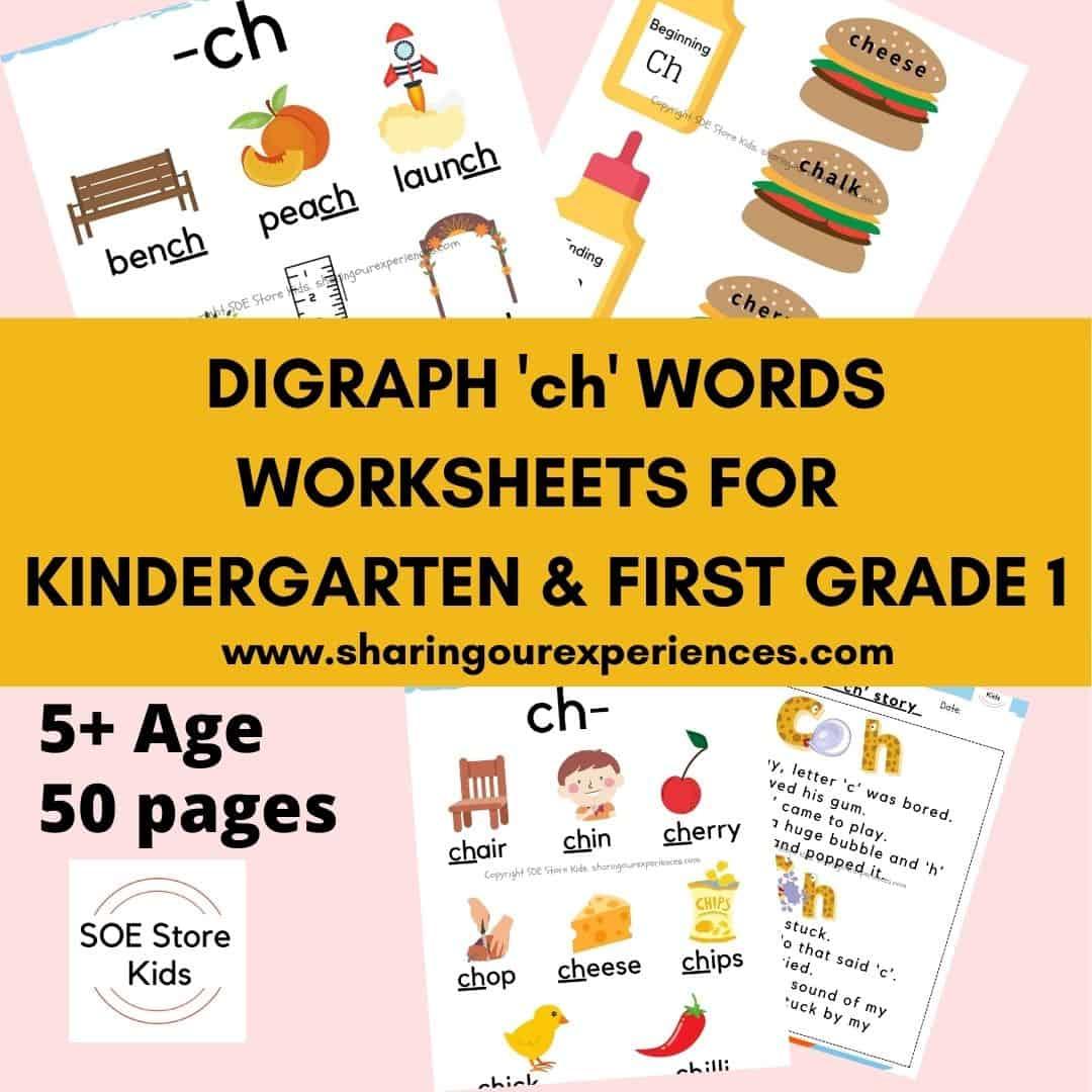 Digraph 'ch' words worksheets for Kindergarten & First grade 1