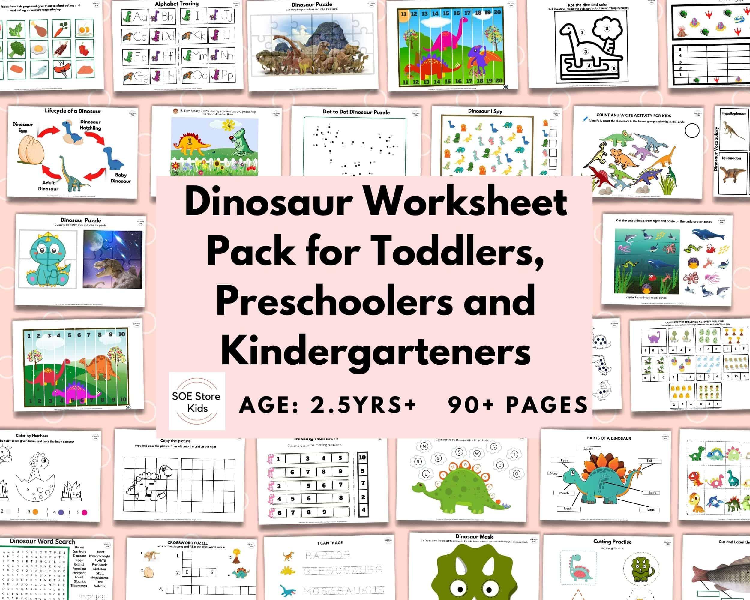 Dinosaur Worksheet Pack for Toddlers, Preschoolers and Kindergarteners