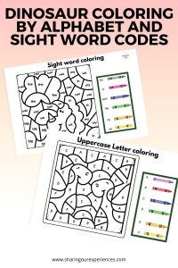 Dinosaur coloring by Alphabet and sight word codes