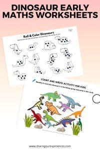 Dinosaur early maths worksheets