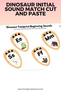 Dinosaur initial sound match cut and paste