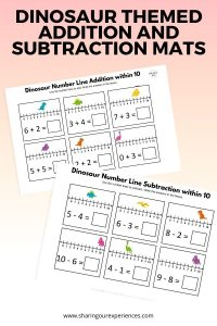 Dinosaur themed addition and subtraction mats