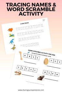 Dinosaur Tracing names & word scramble activity