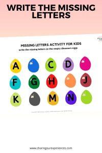 Dinosaur egg Write the missing letters