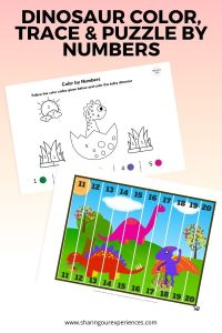 dinosaur color, trace & puzzle by numbers