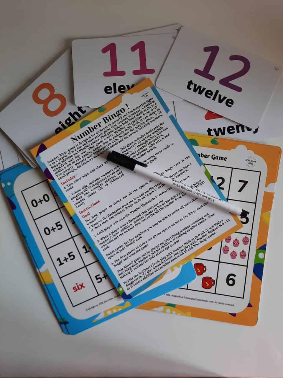 numbers Addition Bingo Game Nursery Kindergarten kids