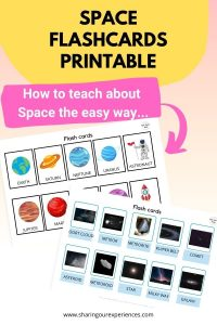 SPACE themed Flashcards Printable