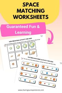sPACE matching worksheets