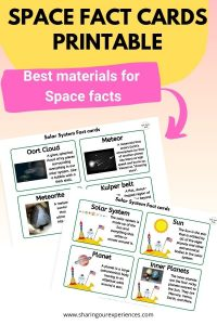 space themed Fact Cards printable