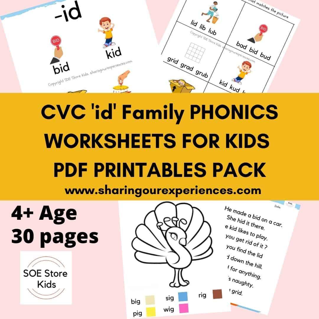 CVC id word family printable Phonics worksheets for kids