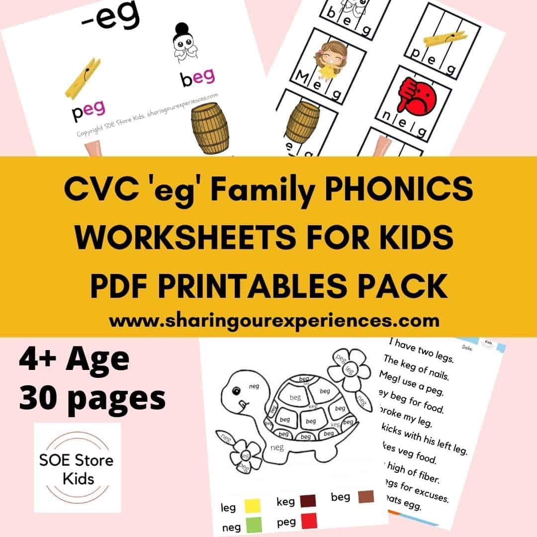 CVC eg word family printable Phonics worksheets for kids