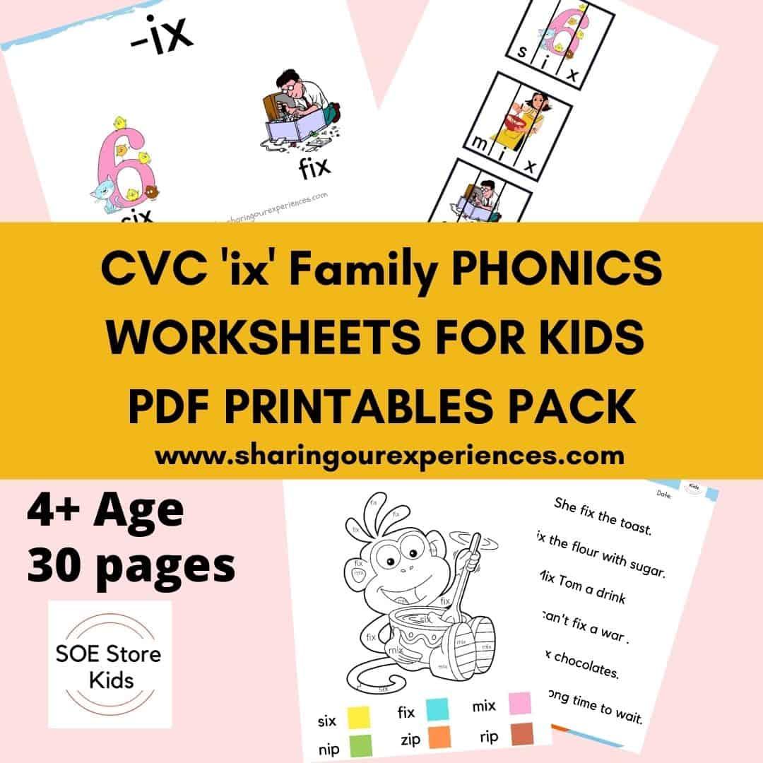 CVC ix word family printable Phonics worksheets for kids