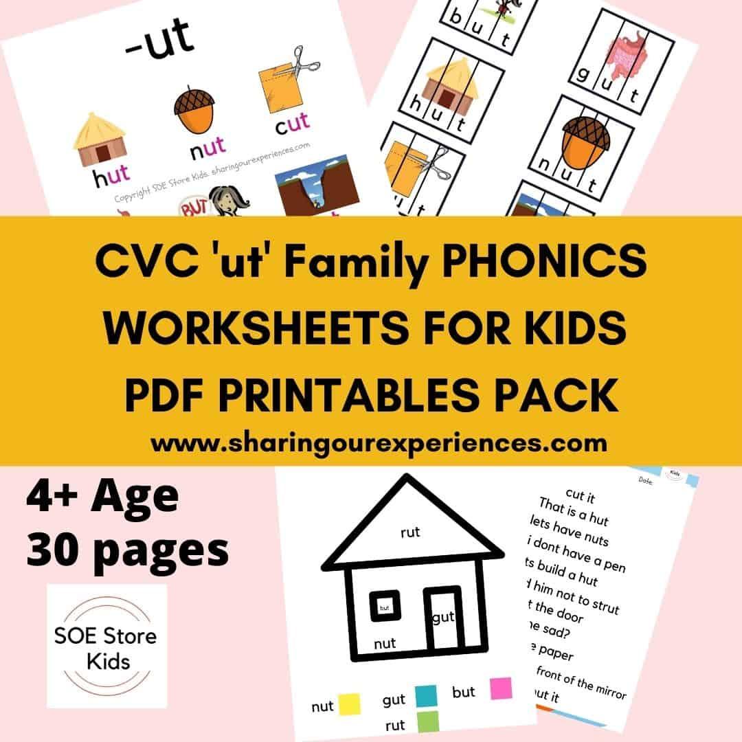 CVC ut word family printable Phonics worksheets for kids