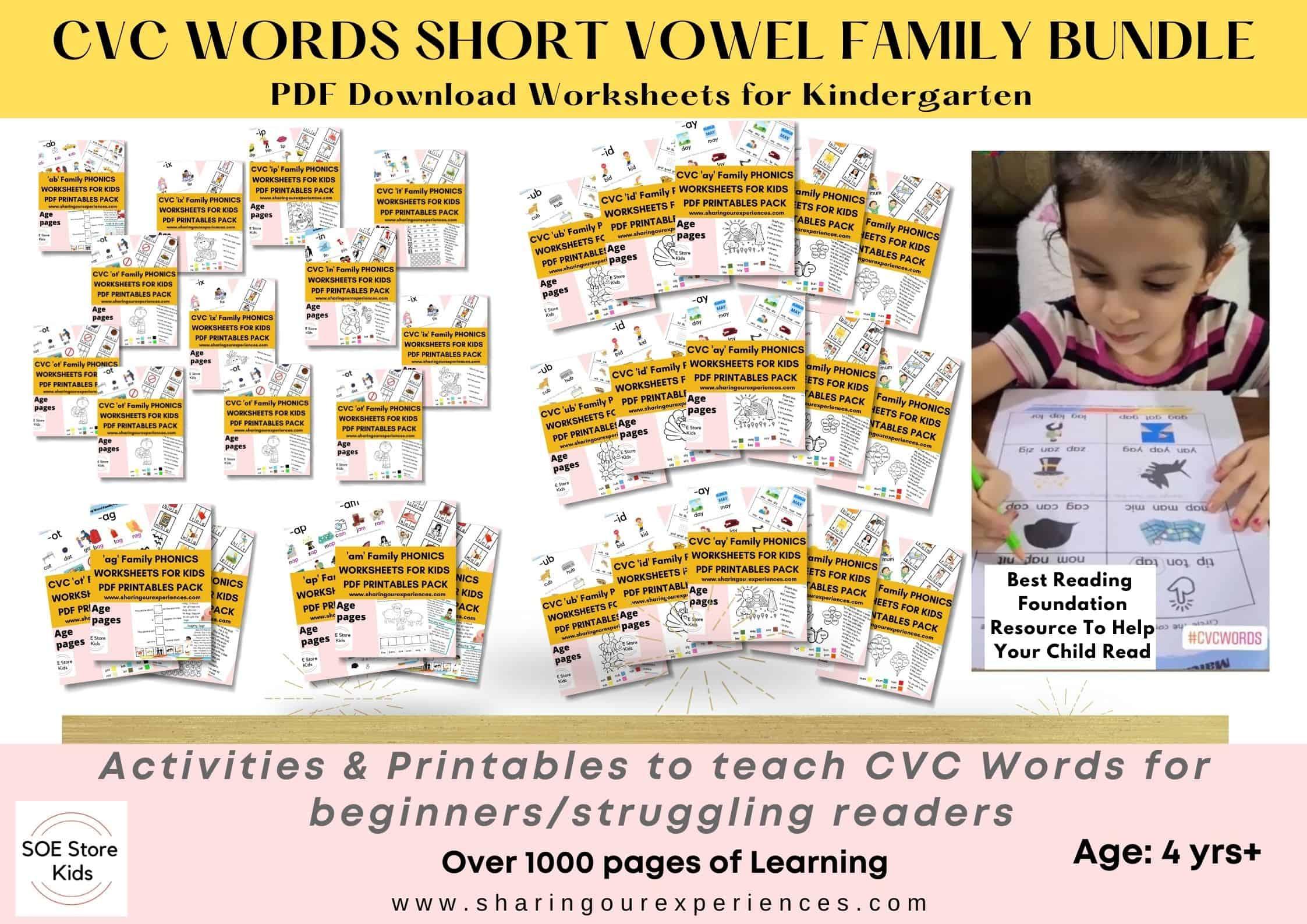 CVC words short vowel family bundle printable Phonics worksheets for kindergarten