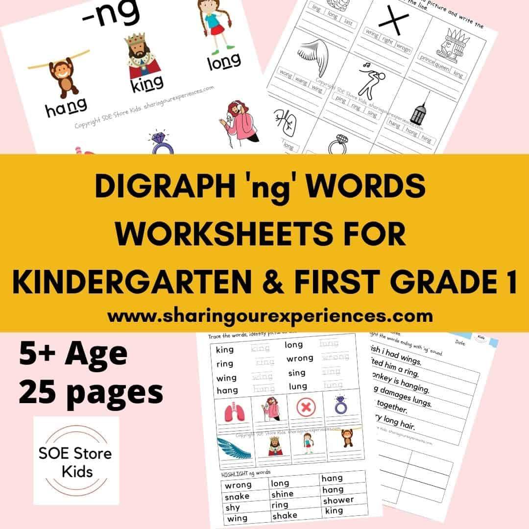 Digraph 'ng' words worksheets for Kindergarten & First grade 1