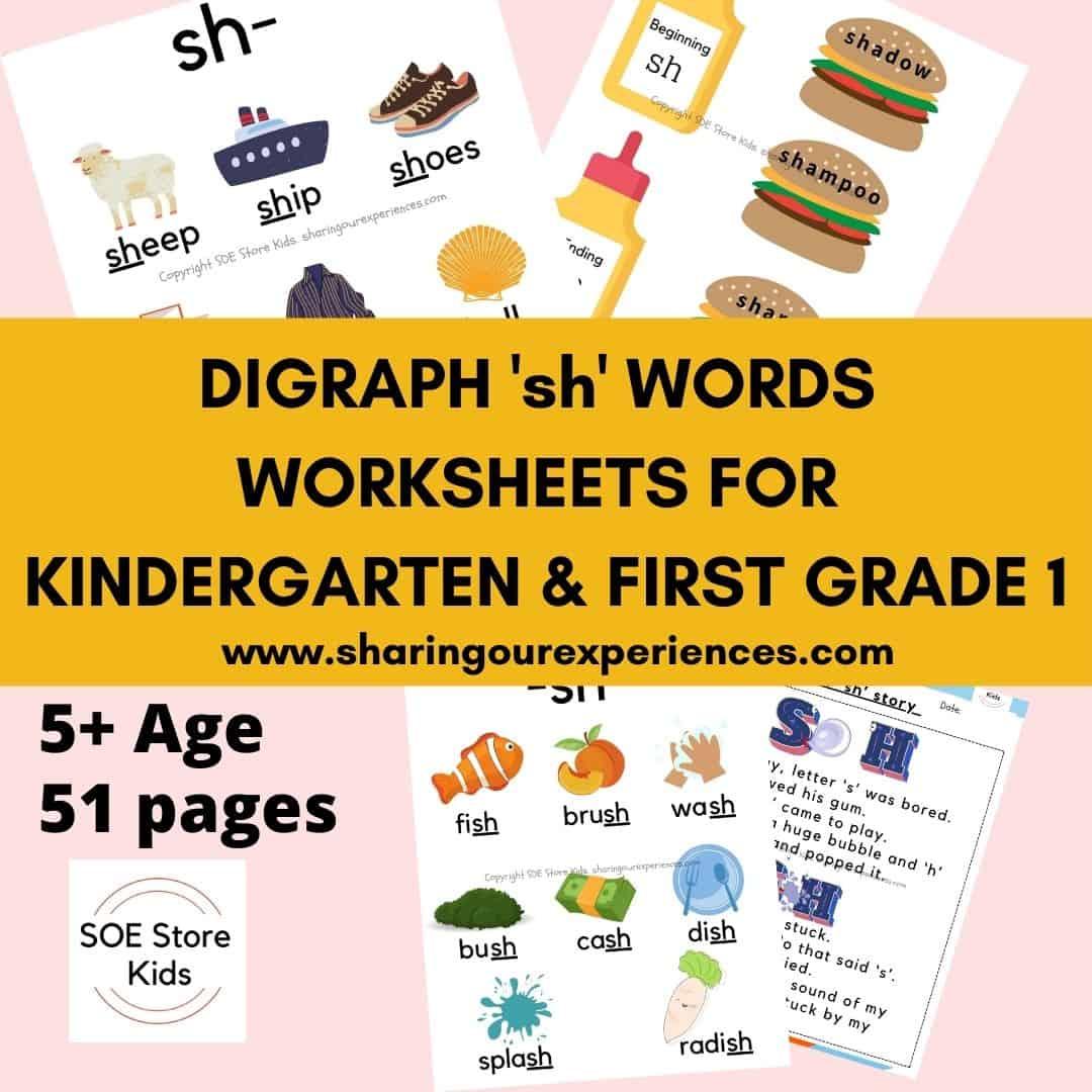 Digraph 'sh' words worksheets for Kindergarten & First grade 1
