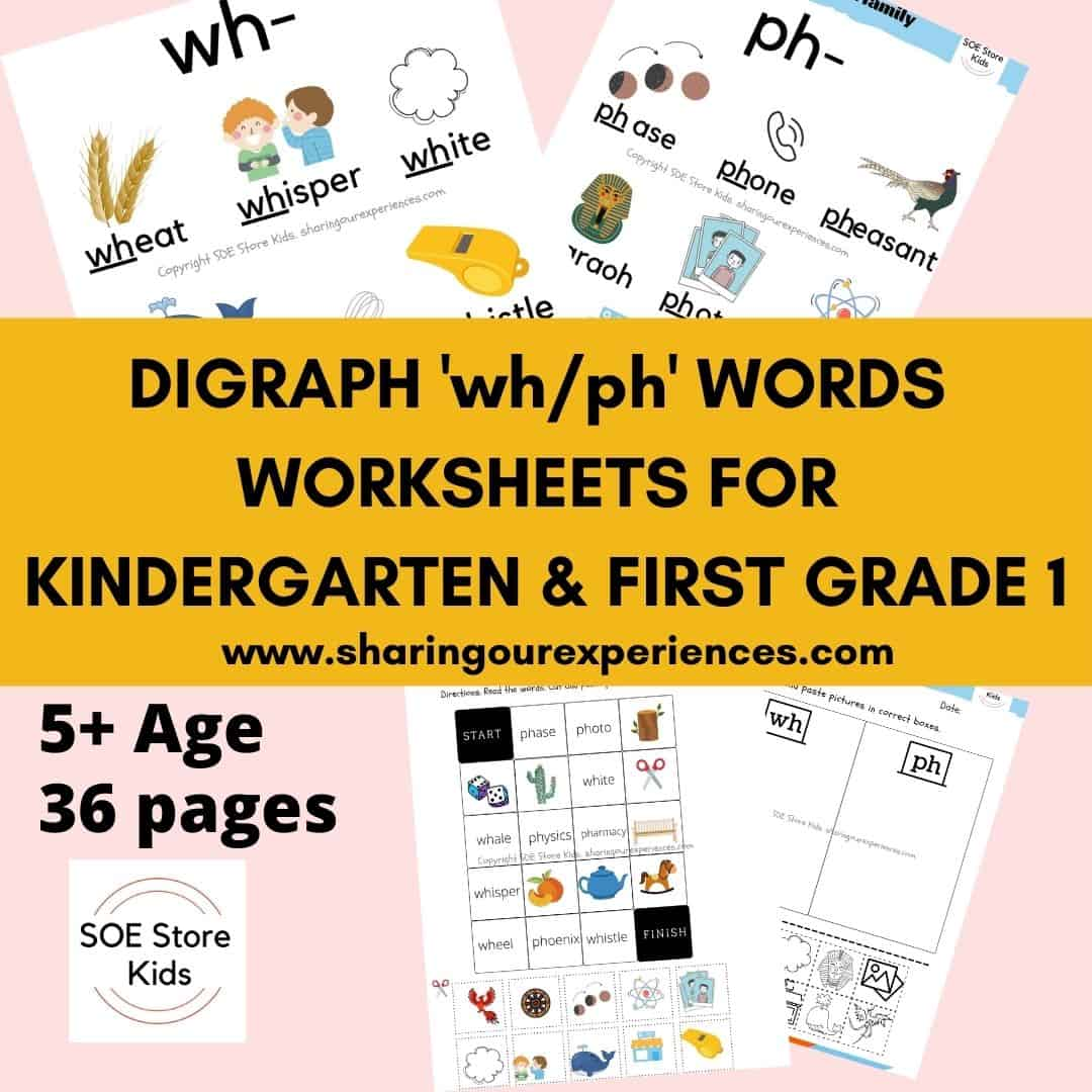 Digraph 'wh-ph' words worksheets for Kindergarten & First grade 1
