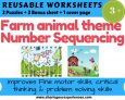 Farm Animal theme Number Sequencing worksheets Laminated format (2 sheets + 2 Puzzle + 1 cover page)