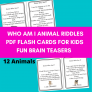 Animal Riddles flashcards for kids PDF