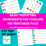 Pre writing Worksheets PDF Downloadable worksheets- Beginners Level (Cover page + 29 worksheets)